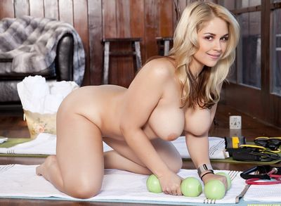 Later on getting as mother gave birth blonde doll loves posing her trimmed cunt and huge tits