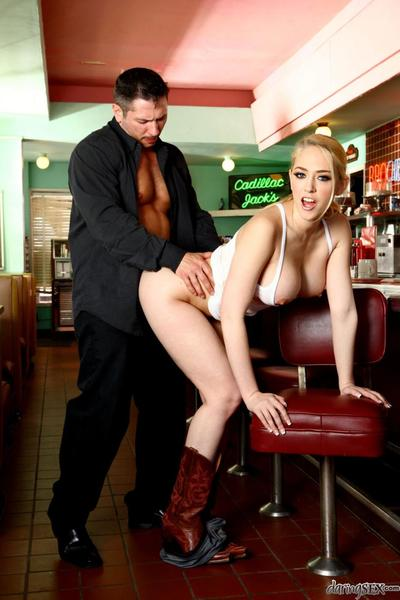 Pretty with breathtaking huge boobs Kagney Linn Karter is working tongue and cage of love over ramrod