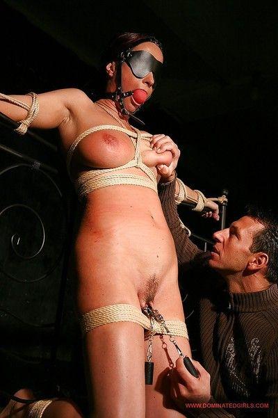 BDSM blindfolded Katy Parker gains rough tortures she merited