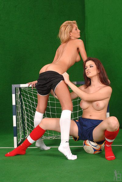 Sporty hotty Virginee in red socks is demonstrating her shaved slit to her slutty hotty