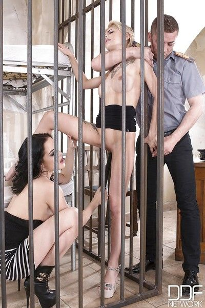 Olivia Jager and Dolly Diore engage in rough sex with correctional officer