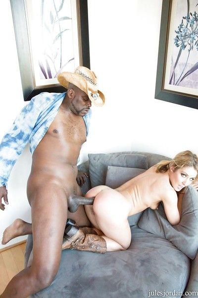 Blond floozy Sheena Shaw posing naked outdoors, orally fixating hairy sacks and riding BBC