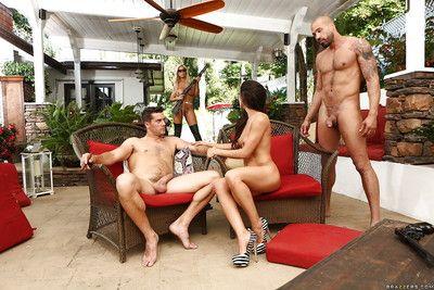 Pornstars Abigail Mac, Alexa Tomas and Bridgette B giving bjs in groupsex