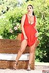 Colossal racked brunette Jelena Jensen with bushy twat strips not featured her red costume outdoors