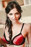 Dark haired Euro chick Anita Sparkle giving oral stimulation servitude in lingerie and heels