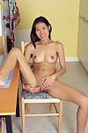 Unconventional Asian teen Luxi parting labia lips to display pink bawdy cleft