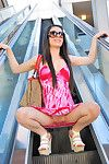 Lacey is needy to play with her fine twat in public scene