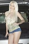 White haired hot amateur queen Blondie Boom gives mouthjob and attains her cunt moved forward in a car