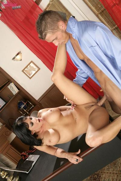 Busty brunette sexpot Tory Lane with tattoo on her back has hard office sex