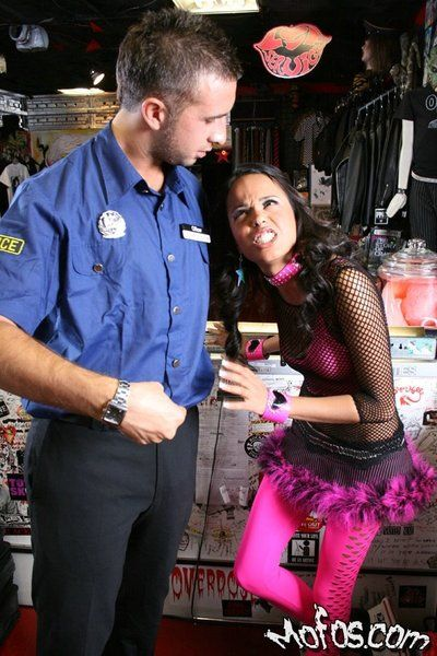 Adorable brunette bimbo Zeina Heart caught and fucked by policeman in the store