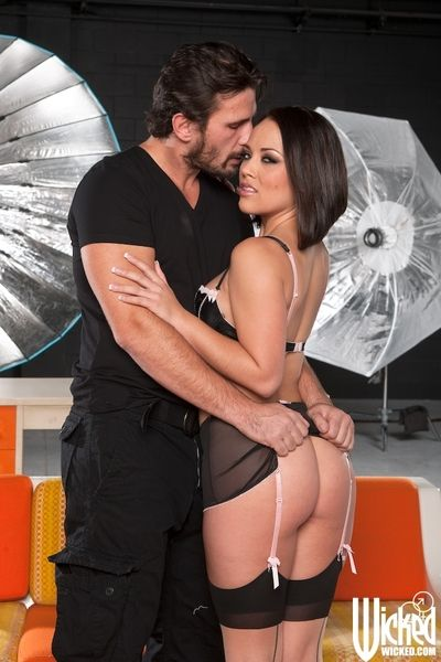 The stockings of lewd Kristina Rose excite her partner so much that he wildly drills her