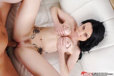 Tattooed brunette Veruca James licks dick head and takes huge cock in her anus