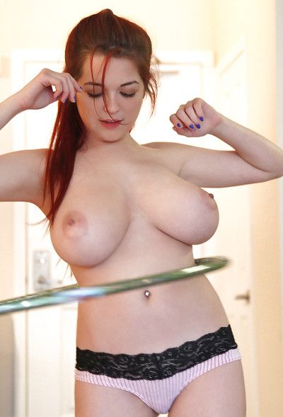 Redhead solo girl Tessa Fowler flaunting large all natural tits in panties