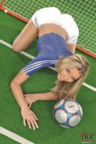 Adorable body art soccer girl Cherry Jul in fake blue and white uniform spreads her legs