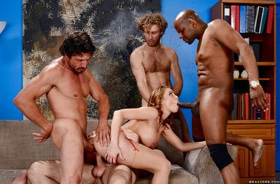 Pornstar Britney Amber taking interracial gangbang from big cocks