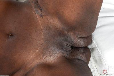 Ebony fatty Black Dahlia is proud of her chocolate brown body and bald twat