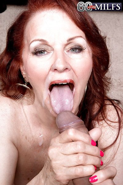 Redhead granny Katherine Merlot goes hardcore and opens mouth wide for sucking