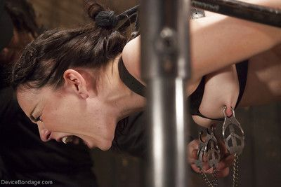 Juliette March is bound for painful caning of naked flesh and exposed pussy