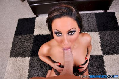 Top pornstar sucking hard on a big fat cock during POV session