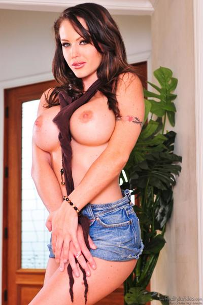 The delicious brunette chick Jenna Presley is showing her busty body from every angle