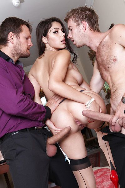 Stocking clad Italian pornstar Valentina Nappi taking DP in MMF threesome