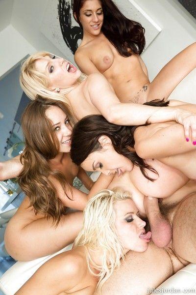 American pornstar Riley Reid and girlfriends undress before reverse gangbang