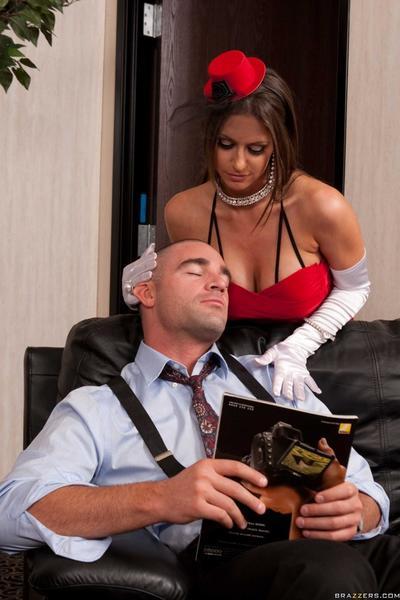 Sexy dressed busty slut Rachel RoXXX with pierced nipples pleases a handsome man.