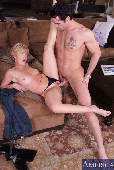 Short haired mature blonde Chanel Carrera with hot slim body gets her pink hole pounded