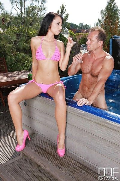 Bikini clad Euro girl Gina Devine giving big dick BJ and handjob in hot tub