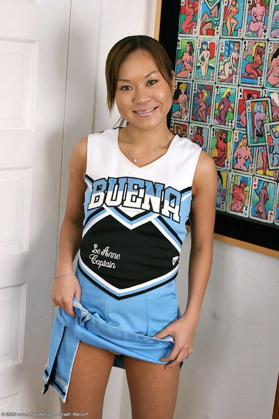 Latina first timer revealing tiny tits and tight ass beneath cheer outfit