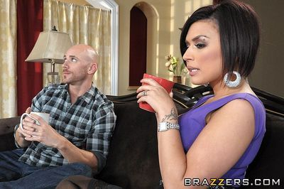 Big tit brunette Eva Angelina in stockings takes heavy cock up her pussy