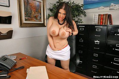 Curvaceous office lady Daphne Rosen with massive tits gets banged by man in blue uniform