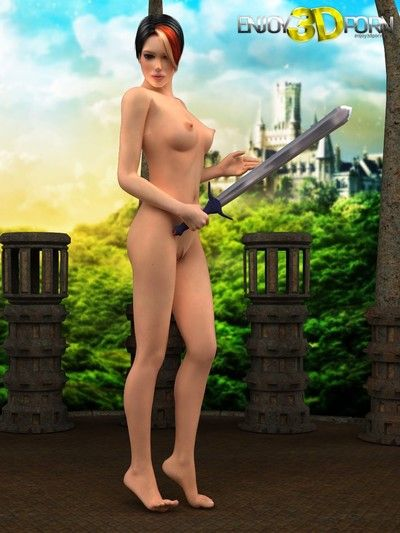 Nude beauty sexy posing with sword
