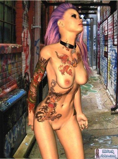 Tattooed punk toon naked