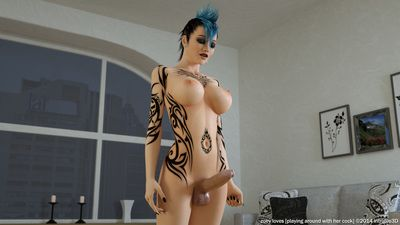 Futanari babe strokes her cock till the jizz shot