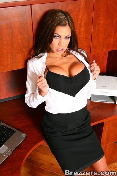 Bent over the desk at the office Hunter Bryce gets a pussy full of hard boss cock in doggy style.