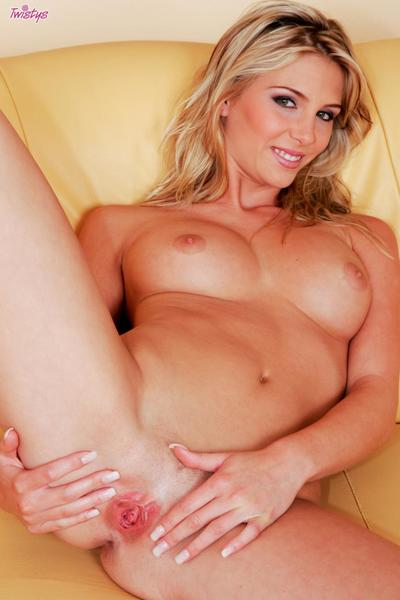 The sweet pussy of this blonde babe Heather Wild is filled with pink dildo