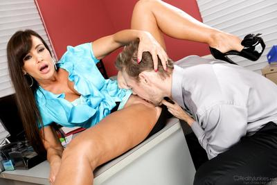 Milf with huge melons Lisa Ann spreads legs and takes cock deeply into vagina