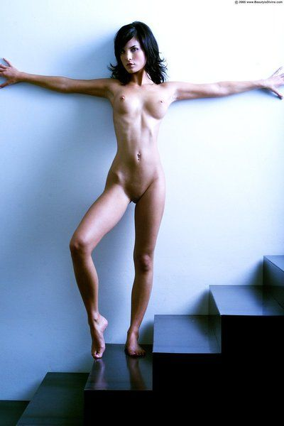 Raven haired glam model Nelli Hunter with long legs and perky tits is nude for your enjoyment