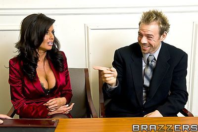 Horny busty MILF Veronica Avluv wears sleazy stockings and takes a wicked hardcore pounding