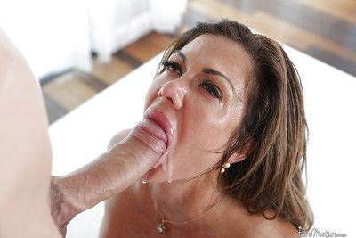 Older lady Nina Dolci giving large dick a messy ball sac sucking blowjob