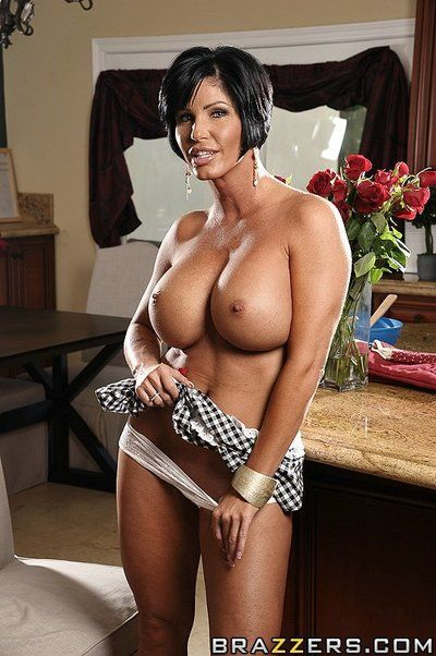 Raven haired housewife Shay Fox with big round boobs gets humped in the kitchen