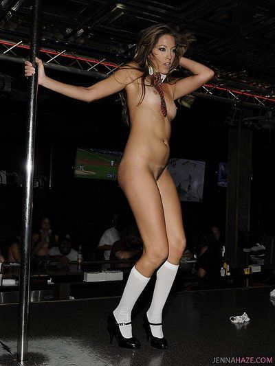 Tall stripper Jenna Haze with small tits and long legs bares all and spreads her legs in public