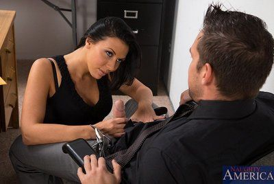 Seducing doll in stockings Rachel Starr enjoys fuck and cum shot in the office