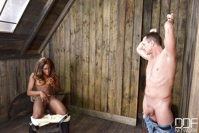 Kinky Ebony mistress Maria Ryder enjoying some fetish fueled BDSM play
