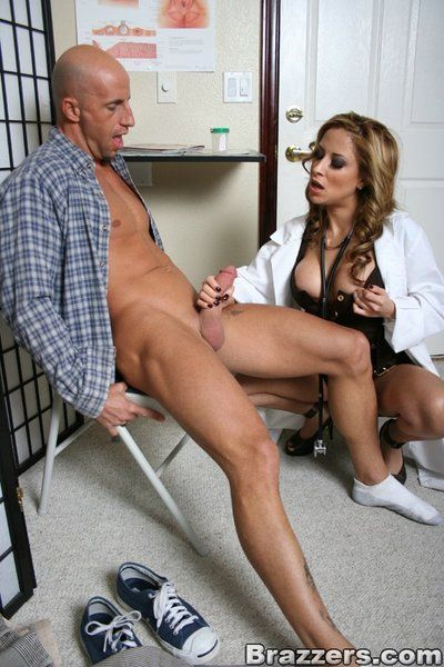 Busty blonde doctor August enjoys oral sex and kinky dick ride on her patient