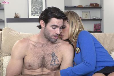 Fair haired busty bombshell Nicole Aniston enjoys hardcore sex with hairy guy