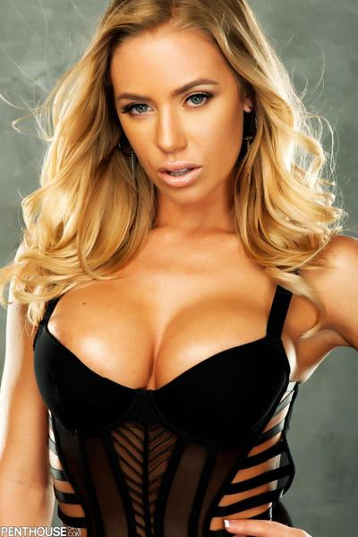 The sweet model Nicole Aniston demonstrates hot black lingerie on the busty body