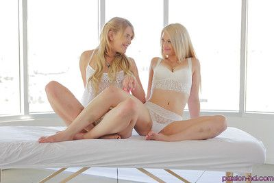 Blonde lesbians Aubrey Gold and Abby Paradise shed lingerie before grinding