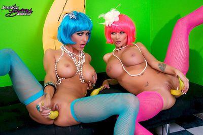 Joyful dolls enjoying warm pussy stimulation in a naughty lesbian show